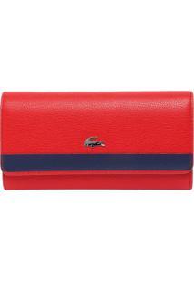 Carteira Em Couro Listrada- Vermelha & Azul Marinho-Lacoste
