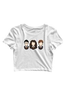 Blusa Blusinha Feminina Cropped Tshirt Camiseta Harry Potter Branco
