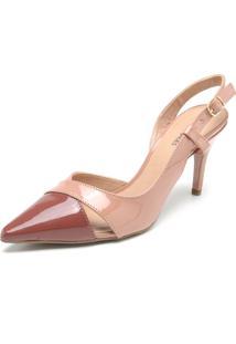 Scarpin Dafiti Shoes Verniz Nude/Marrom