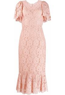 Dolce & Gabbana Vestido Slim Com Renda Floral - Rosa