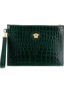 Versace Clutch Com Efeito Croco - Verde