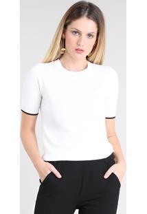Blusa Feminina Bicolor Em Tricô Manga Curta Decote Redondo Off White