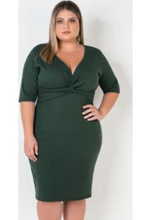 Vestido Plus Sizeverde Com Decote Transpassado