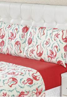 Jogo De Lençol King Bia Enxovais Malha 100% Algodão 4 Peças - Flamingo
