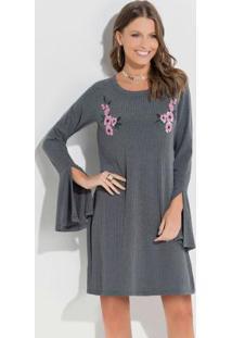 659cce6ff8 Vestido Cinza Quintess feminino
