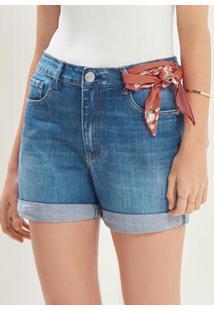 Bermuda Azul Jeans Boyfriend Com Lenço