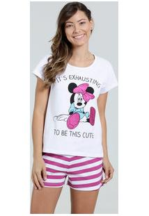 Pijama Feminino Short Doll Listrado Minnie Disney