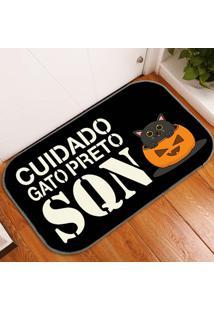 Tapete Decorativo Cuidado Gato Preto Único
