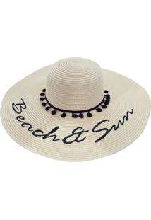 Chapéu De Praia Bali Beach Detalhes Com Pompom Branco