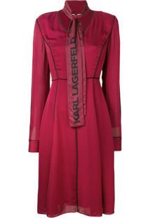 Karl Lagerfeld Vestido Evasê Com Logo - Vermelho