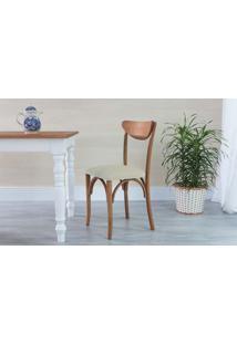Cadeira Para Cozinha Estofada Amélie - Stain Jatobá - Tec.924 Off White - 44,5X45X81 Cm