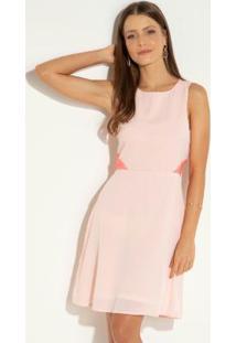 Vestido Quintess Clássico Rosa Com Zíper