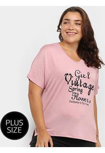 Camiseta City Lady Girl Vintage Plus Size Feminina - Feminino-Rosa