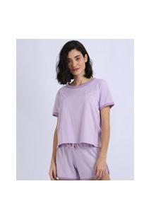 Pijama Feminino Manga Curta Roxo