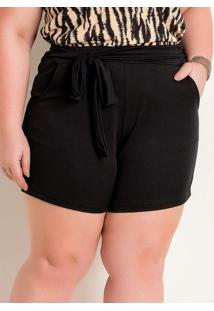Short Preto Plus Size Com Amarração