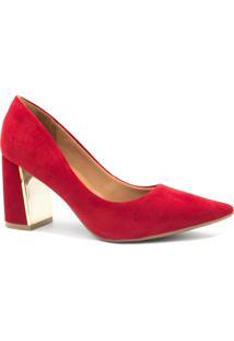 Sapato Bebece Scarpin Salto Metalizado Vermelho