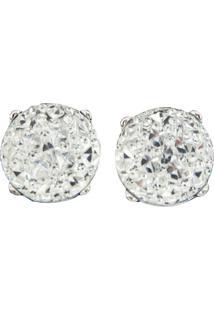 Brinco Liage Redondo Pedraria Pedra Cristal Strass Transparente E Metal Prata - Tricae