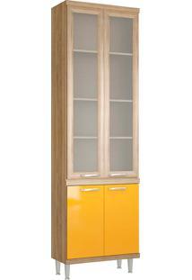 Paneleiro 5121 C/ Vidro Sicília - Multimóveis - Argila Acetinado / Amarelo Gema