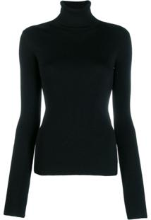 Helmut Lang Knitted Roll Neck Top - Preto