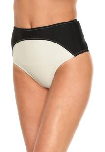 Calcinha Salinas Hot Pant Recortes Preta/Off-White