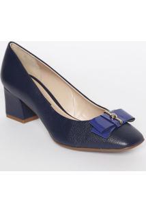 Sapato Tradicional Em Couro Com Laço & Strass- Azul Marijorge Bischoff