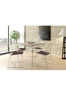 Mesa 1525 Branca Cromada Com 4 Cadeiras 1712 Cacau Carraro