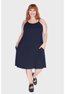 Vestido Bold Com Alças Finas Plus Size Feminino - Feminino-Marinho