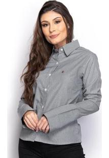 Camisa Camisete Social Feminina Listrada Manga Longa Casual - Feminino-Preto