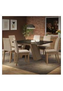 Conjunto Sala De Jantar Madesa Pietra Mesa Tampo De Vidro Com 6 Cadeiras Rustic/Preto/Fendi