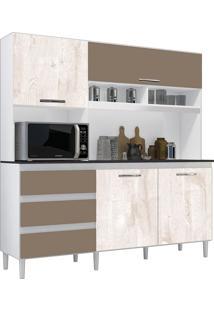 Cozinha Compacta Florença Branco/Aspen/Canela 4 Portas - Incorplac