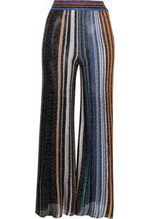 Missoni Calça Flare Metálica De Tricô Com Listras - Azul