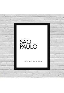 Quadro Decorativo Minimalista Coordenadas São Paulo Preto - Grande