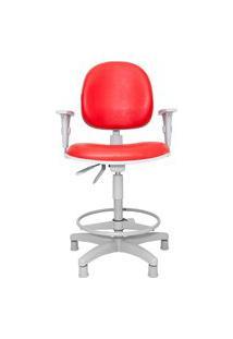 Cadeira Giratória Spin Caixa-Produção. Aro. Braços Ajustáveis. Sapatas. Estrutura Cinza. Revestimento Sintético. Prolabore Produtos Ergonômicos