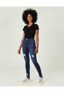 Calça Push Up Flex Jeans Malwee Azul Escuro - 34