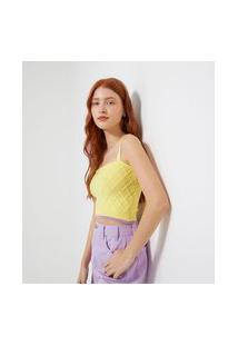 Blusa Cropped Com Alças Largas Em Tricô Bicolor | Blue Steel | Amarelo | M
