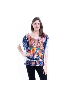 Blusa 101 Resort Wear Poncho Ombro A Ombro Crepe Cetim Estampado Floral Multicolorido
