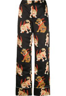 Kirin Calça De Pijama Com Estampa - Preto