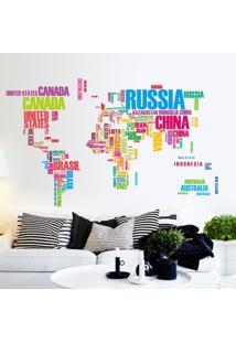 Adesivo De Parede Divanet Mapa Do Mundo Colorido