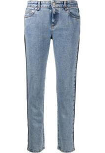 Alexander Mcqueen Calça Jeans Reta Com Recortes - Azul