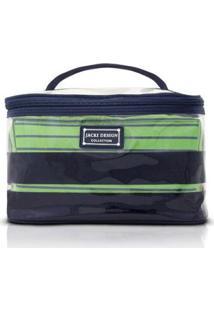 Kit Necessaire 2 Em 1 Jacki Design Listrada Pvc + Microfibra - Unissex-Verde Escuro