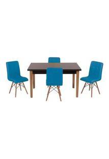 Conjunto Mesa De Jantar Luiza 135Cm Preta Com 4 Cadeiras Gomos - Turquesa