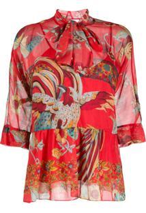 Redvalentino Blusa Com Estampa Inspirada Na Natureza - Vermelho