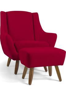 Poltrona Decorativa Com Puff Sala De Estar Pés De Madeira Naomi Veludo Vermelho - Gran Belo