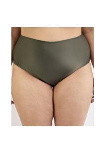 Biquíni Calcinha Plus Size Hot Pant Com Proteção Uv50+ Verde Militar