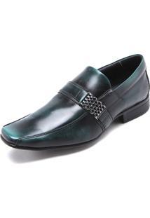 Sapato Social Couro Rafarillo Recortes Verde
