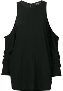 Y-3 Blusa De Tricô Com Ombros Vazados - Preto