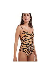 Maiô Recorte Estampado Tigre