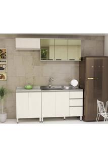 Cozinha 4 Peças Com Balcão Armário Basculante 8 Portas 3 Gavetas Anita Siena Móveis Legno Crema/Linho