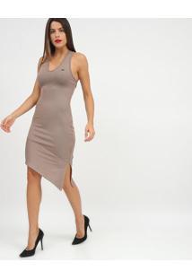 Vestido Assimã©Trico Canelado Com Recortes- Cinza- Trtriton