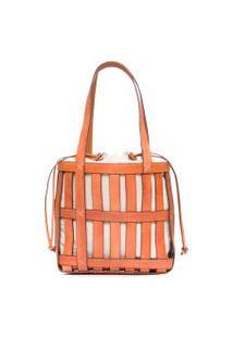 Bolsa Bucket Bag Tiras - Marrom